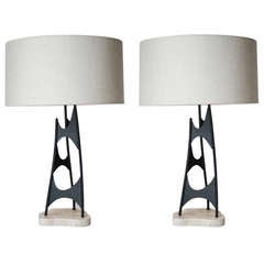 Pair of Custom Sculptural Table Lamps in the Style of Mauricio Tempestini