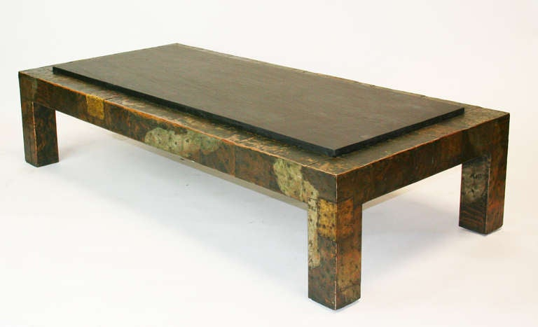 Large Paul Evans Patchwork And Slate Coffee Table 2