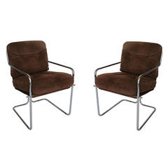 Pair of Milo Baughman suede and chrome armchairs