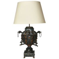 Antique Tole Samovar Mounted As A Lamp