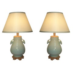 Pair of Celadon Lamps with Sculptural Handles