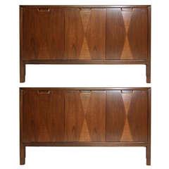 Pair of Mid-Century Three Door Walnut Cabinets