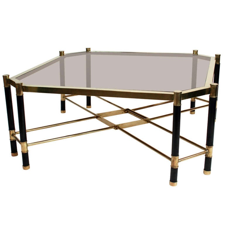 1970's French Brass And Painted Metal Cocktail Table For