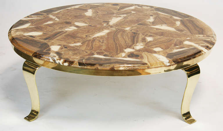 Elegant Onyx and Brass Coffee Table For Sale at 1stdibs