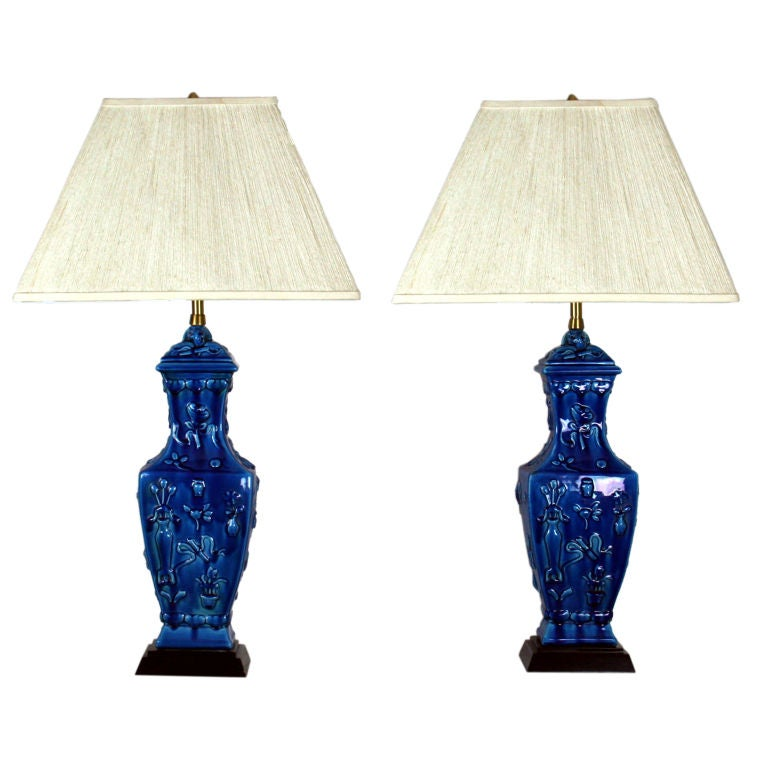 Pair of Turquoise Glazed Lamps