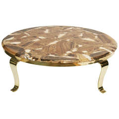 Elegant Onyx and Brass Coffee Table