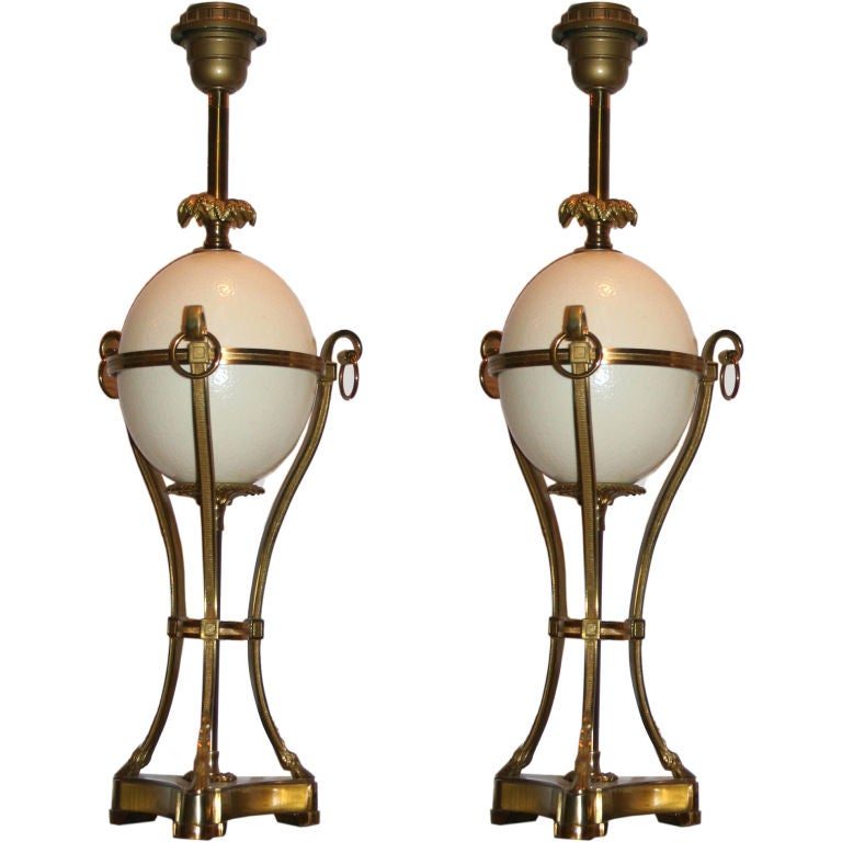 Pair of Gilt Bronze Ostrich Egg Lamps by Charles
