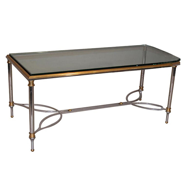 Polished Stainless And Glass Coffee Table With Brass