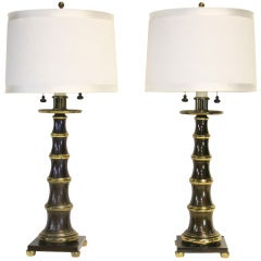 Chic Pair of Bronze and Brass Faux Bamboo Lamps