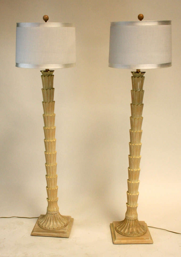 Tree Effect Floor Lamps : Pair of faux palm tree floor lamps at stdibs