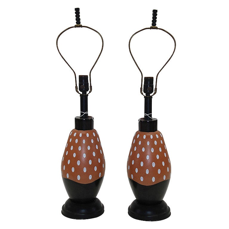 Pair of 1940's Ceramic Lamps with Graphic Glaze