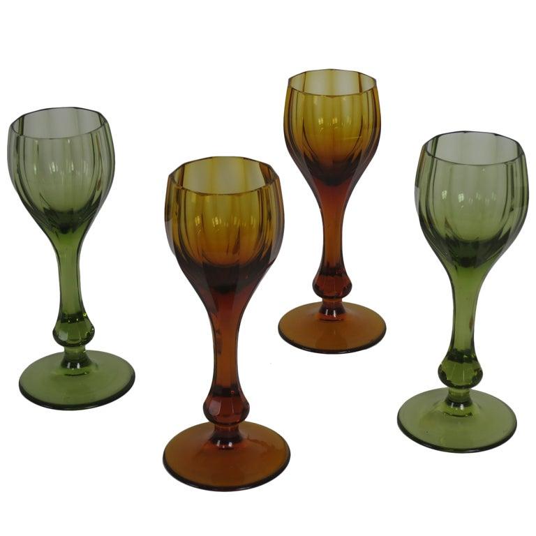 Set of Four Moser Glass Goblets