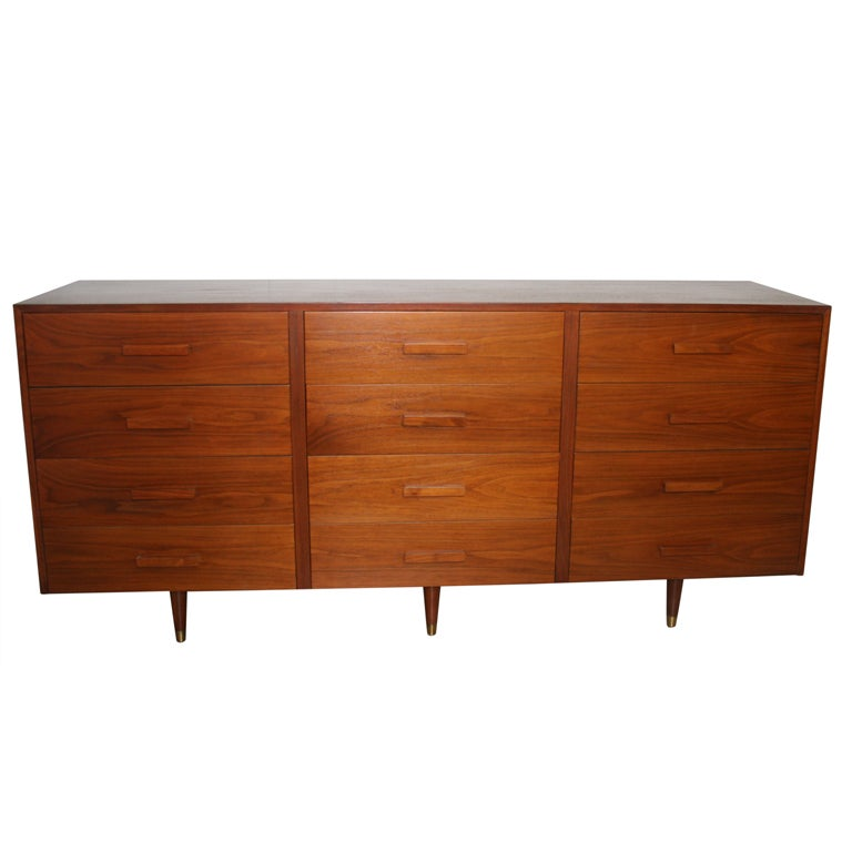 Mid-Century Modern Twelve Drawer Dresser For Sale