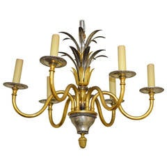 French Nickel and Gilt Bronze Palm Chandelier Attributed to Maison Charles