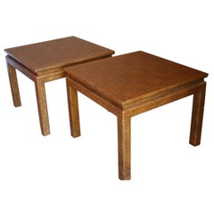 Pair of Bronze Inlay Raffia Tables