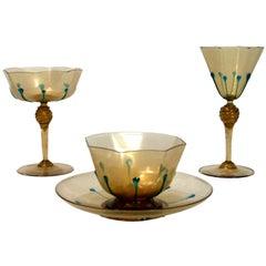 Set of Galliano Ferro Venetian Stemware