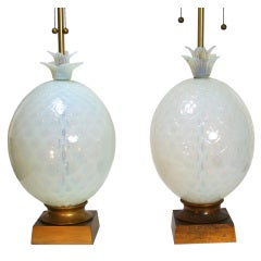 Pair of Monumental Seguso Pineapple Lamps