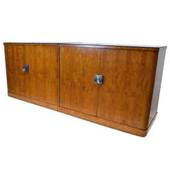 Pair of European Art Deco Burl Cabinets