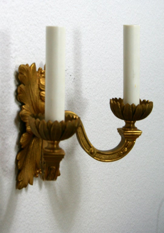 French Pair of Gilt Bronze Louis XVI Style Sconces For Sale