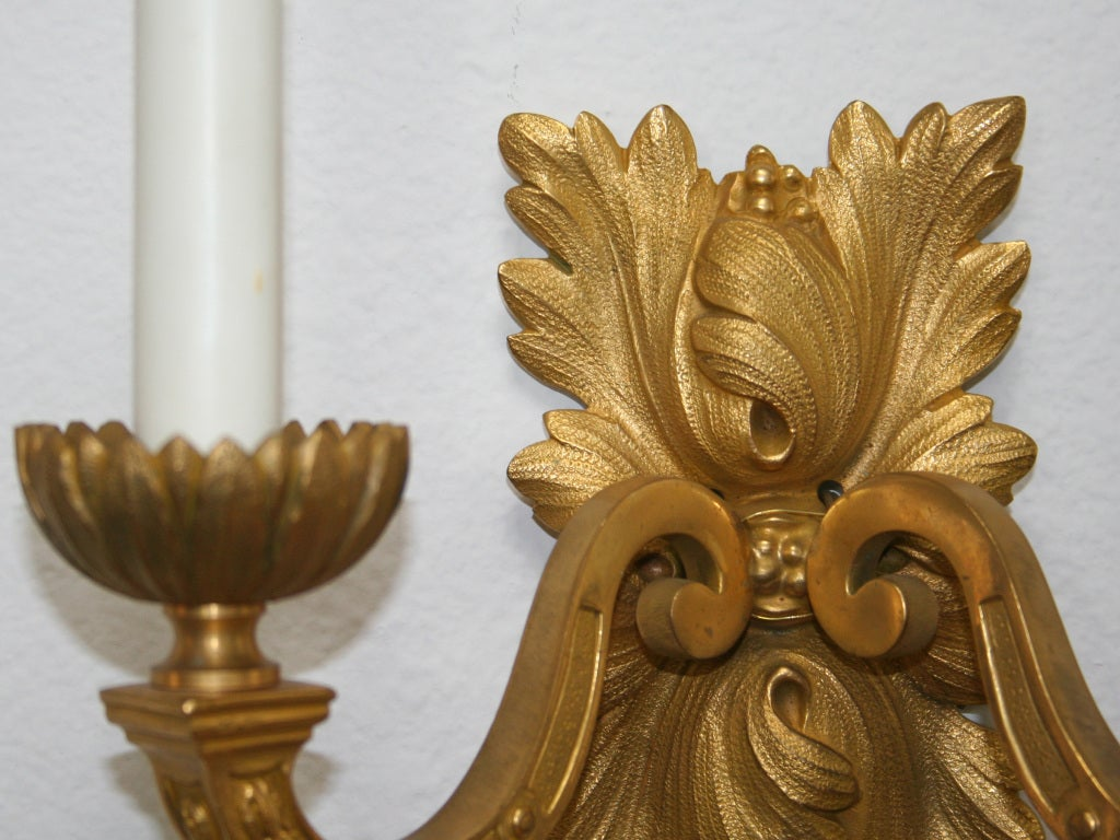 Pair of Gilt Bronze Louis XVI Style Sconces In Good Condition For Sale In Palm Springs, CA