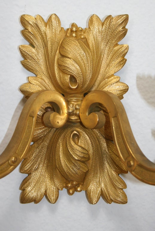 20th Century Pair of Gilt Bronze Louis XVI Style Sconces For Sale