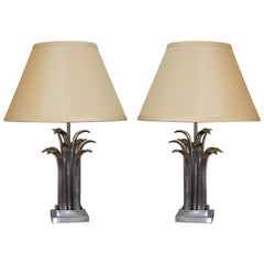Pair of Metal Abstract Palm Lamps