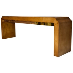 Monumental Parchment and Brass Console