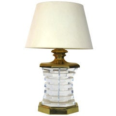 Large Stacked Lucite and Brass Lamp