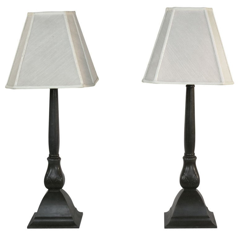Pair of Just Andersen Denmark, Art Moderne Lamps For Sale