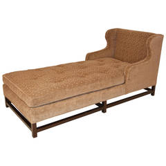 Mid-Century Modern Wingback Chaise with Walnut Legs and Stretchers