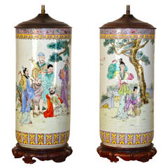Pair of Monumental Famille Rose Chinese Lamps