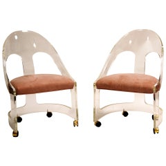 Pair of Chic Lucite Spoonback Chairs