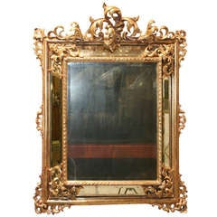 19th c. Continental Carved Giltwood Regence Mirror