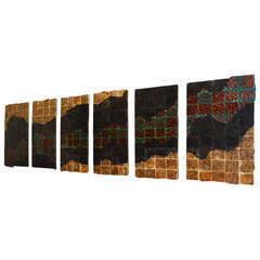 Set of Six Raku Tile Wall Panels
