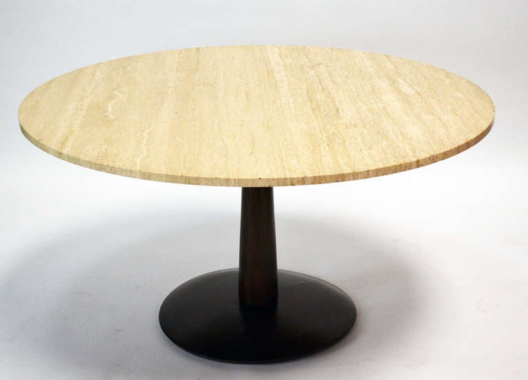 Mid-Century Modern Travertine Top Game Table For Sale