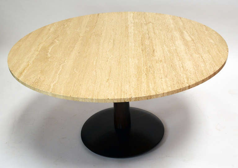 20th Century Travertine Top Game Table For Sale