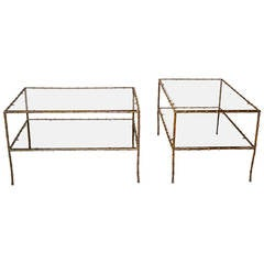 Pair of French Bronze Faux Bamboo Coffee or Side Tables