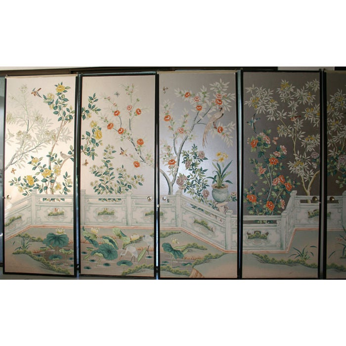 Set of 8 handpainted chinoiserie wallpaper panels at 1stdibs for Wallpaper sheets for sale
