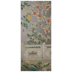 set of 8 handpainted Chinoiserie wallpaper panels