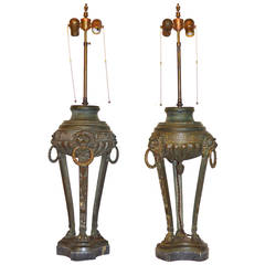 Pair of 19th Century Bronze Tripod Lamps