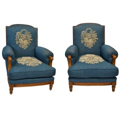 Pair of Exceptional 1940s French Club Chairs