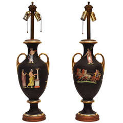 Pair of Neoclassical Decorated Lamps