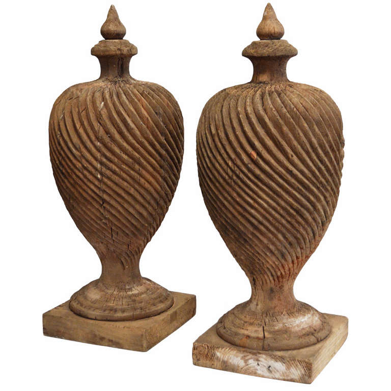 pair of monumental 19th century wood finials at 1stdibs