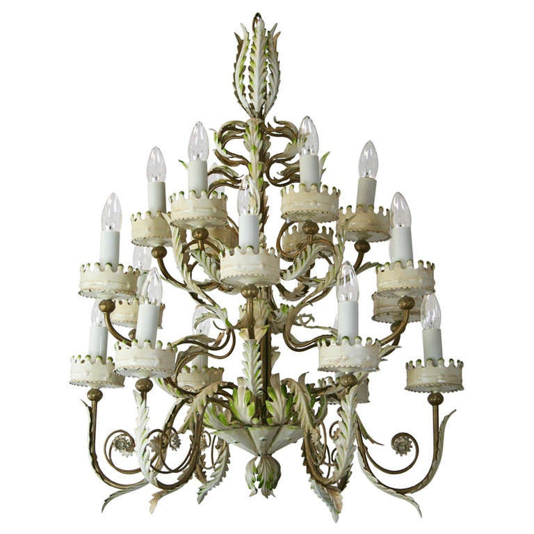 Tole Italy  city photos : Large Italian Tole Chandelier For Sale at 1stdibs