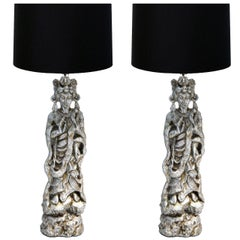 Pair of Monumental 1950s Asian Figure Lamps