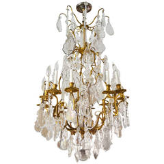 19th Century French Gilt Bronze and Crystal Cage Chandelier