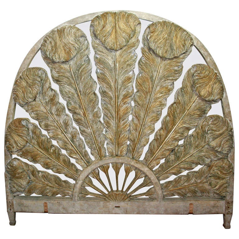 Prince of Wales Feather Carved Parcel Gilt & Mirrored Headboard 1