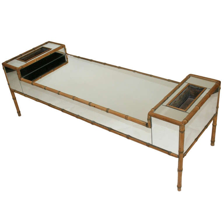 Hollywood Regency Faux Bamboo Mirrored Coffee Table