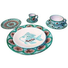 Rare Robert Picault Faience Dinner Service for 8