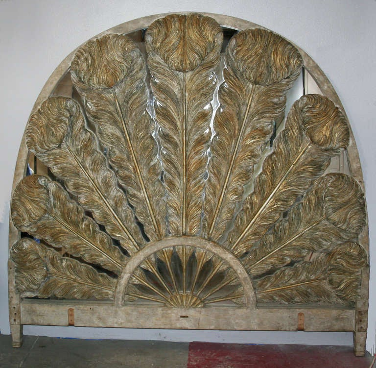 Prince of Wales Feather Carved Parcel Gilt & Mirrored Headboard 3
